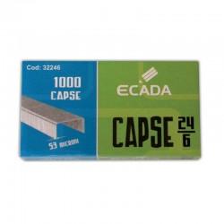 Capse 24/6, cutie 1000 bucati, otel galvanizat, 53 microni, Ecada