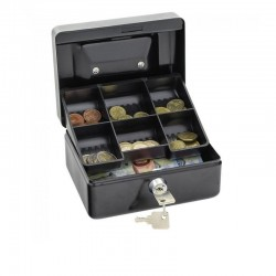 Caseta pentru bani si valori, metalica, inchidere cheie, 15.2x11.5x8 cm