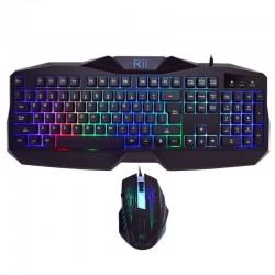 Kit tastatura si mouse gaming, iluminata, USB, 104 taste, Rii