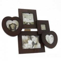 Rama foto multipla, 5 fotografii, vintage, fixare perete sau birou, maro inchis