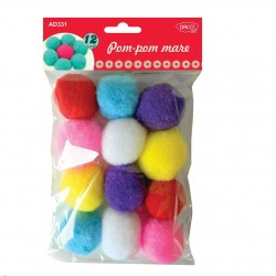 Pom-Pom colorat decorativ, 12 bucati, 5 cm, material textil, Daco