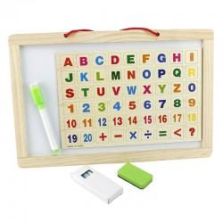 Tablita magnetica, litere si cifre, marker, burete, creta colorata, rama lemn