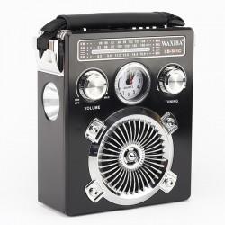 Radio portabil cu ceas, lanterna, FM, AM, SW, MP3, TF SD, USB, negru