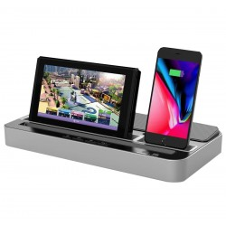 Statie incarcare smartphone Type-C, microUSB, Lightning, boxa 3W Jack 3.5mm, iPega