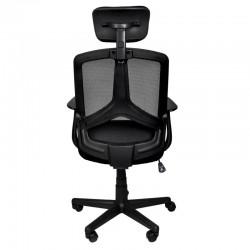 Scaun de birou ergonomic, reglabil, rotativ, maxim 100kg, tetiera, negru