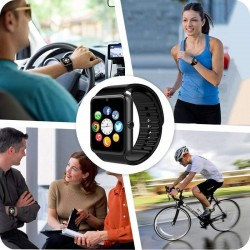 Ceas smart bluetooth 4.0, cartela Micro-SIM, ecran 1.54 HD touchscreen, 17 functii, Android 4.3, iOS 7.0, negru