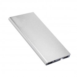 Power bank slim portabil, 20000mAh, USB, lanterna LED, argintiu