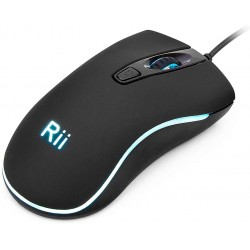 Mouse optic cu fir USB, iluminat multicolor, 1600DPI, design ergonomic
