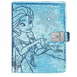 Agenda tip jurnal Frozen, inchidere lacat, cheita, aplicatii diamante, 20x15cm