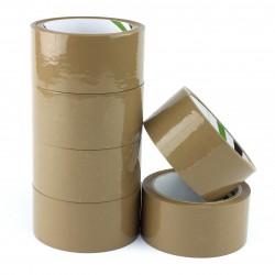 Banda adeziva ambalare, pe baza de solvent, 48mmx60m, set 6 bucati, maro