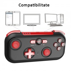 Gamepad Bluetooth, 13 butoane, carcasa protectie, Android, Windows, Resigilat