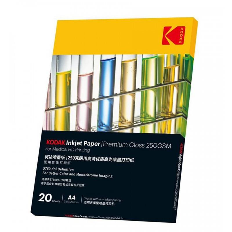 Hartie Kodak Premium Gloss 250 grame, format A4, print medical HD, 20 coli