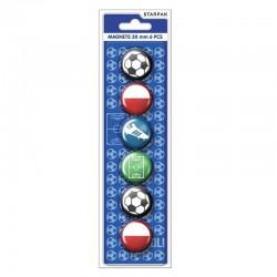 Magneti Fotbal 30 mm, multicolor, set 6 bucati