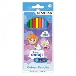 Creioane colorate Emoji Frozen, 12 culori