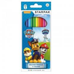 Creioane colorate Patrula Catelusilor, diverse culori, set 12 bucati