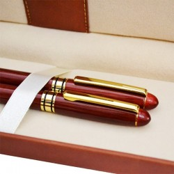 Set de scris pix si stilou in etui din piele ecologica, penita din otel inoxidabil