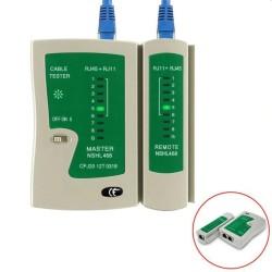 Tester pentru cabluri UTP/FTP/STP/RJ45/RJ11, scanare automata, 4 tipuri de teste