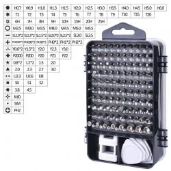 Set 110 scule, chei TORX, surubelnite, magnetizator, penseta, carcasa depozitare