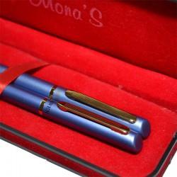 Set stilou si pix in etui, corp metalic sidefat, ornamente aurii