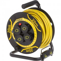Cablu prelungitor pe tambur, 20 m, 4 prize, 3200W, baza metalica, IP44