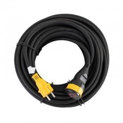 Cablu prelungitor cu cupla, H07RNF 3G2,5 mm2, 20 m, IP44, negru