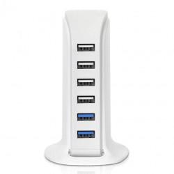 Incarcator de retea  6 x USB, pentru birou, design compact, Home