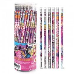 Creion grafit HB Barbie, cu radiera