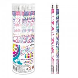 Creion grafit cu radiera, duritate HB, modele mixte