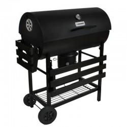 Gratar BBQ Grill pe carbuni, capac cu termometru, 2 rafturi pliabile, roti