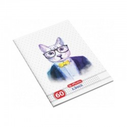 Caiet studentesc A4  Hipsters Animals,60 file, matematica, Herlitz