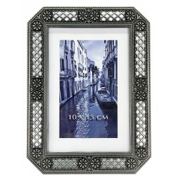 Rama foto Josie, 10x15 cm, broderie metalica, aspect vintage elegant