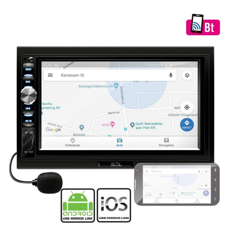 Radio auto multimedia, BT, mirroring IOS Android, 4x50W, touchscreen, LCD 7 inch