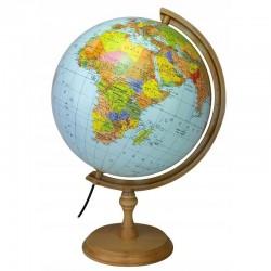 Glob pamantesc iluminat, diametru 32 cm, harta politica, fus orar, suport lemn