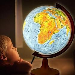 Glob geografic iluminat, harta politica si fizica, diametru 32 cm, meridian