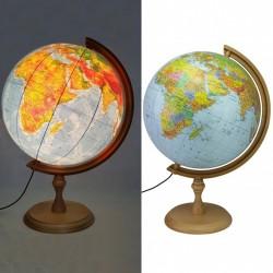Glob geografic iluminat, harta politica si fizica, suport lemn, fus orar, diametru 32 cm