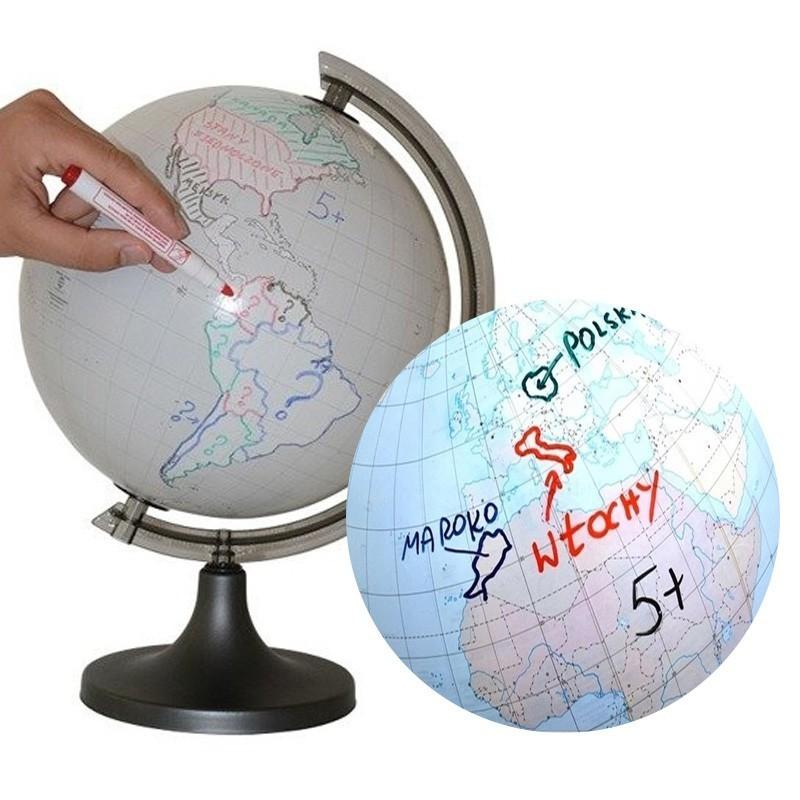 Glob pamantesc personalizabil, 4 markere, burete, diametru 25 cm