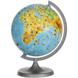Glob pamantesc harta fizica-zoologica, meridian si suport, diametru 22 cm, carte 275 animale