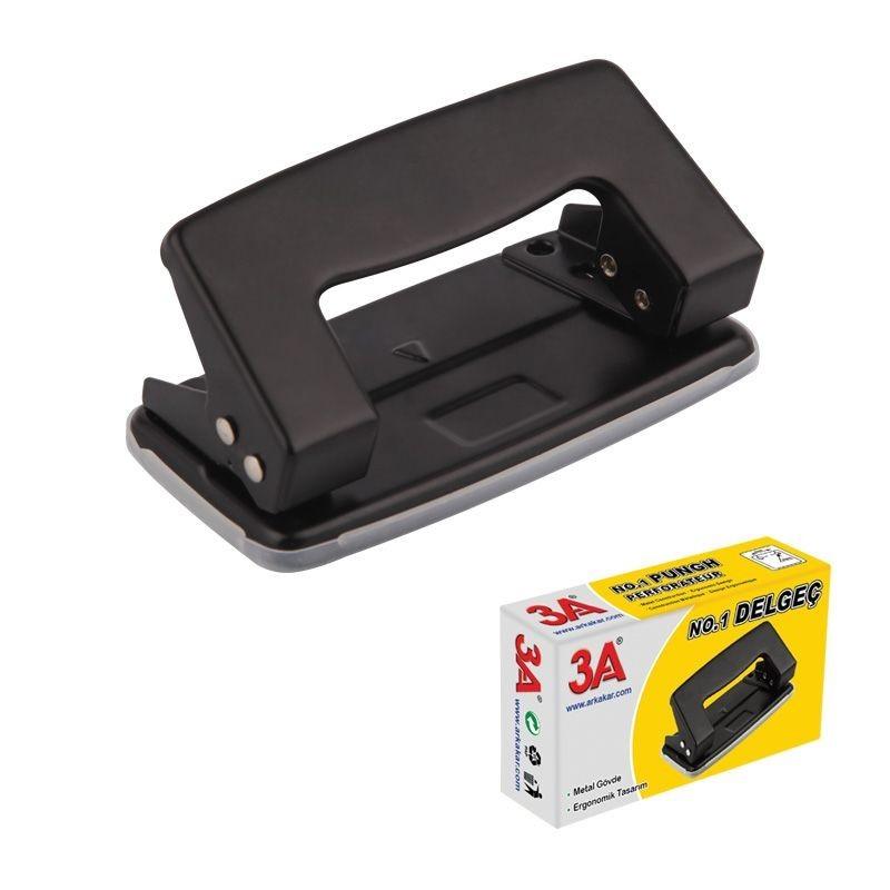 Perforator metalic de birou, capacitate 10 coli, negru