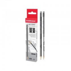 Creion mina grafit 2mm, duritate HB, radiera, scris, desen, forma triunghiulara