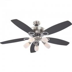 Ventilator de tavan 40W, dulie E14, reversibil, 3 trepte viteza, 2 fete, gri-maro