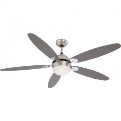 Ventilator reversibil cu lustra, 5 palete, 60W, 3 trepte viteza, montare tavan, E14