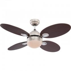 Ventilator de tavan cu lustra, E14 60W, palete cu 2 fete, miscare reversibila