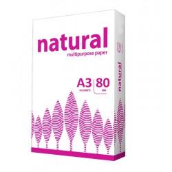 Hartie pentru copiator, format A3, greutate 80g, top 500 coli, Natural