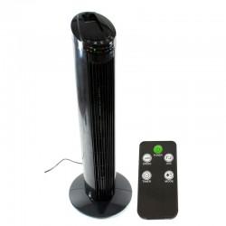 Ventilator de birou tip stalp, 50W, 3 trepte viteza, oscilare 70grade, telecomanda, temporizator, negru
