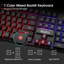 Kit tastatura si mouse 3200 DPI pentru gaming, conexiune USB, iluminate, Mafiti