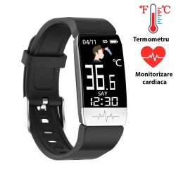 Bratara Smart Android, iOS, Bluetooth, termperatura si ritm cardiac, 1.14inch, touch