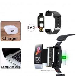 Bratara Smart Android, iOS, Bluetooth, termperatura si ritm cardiac, 1.14inch, touch