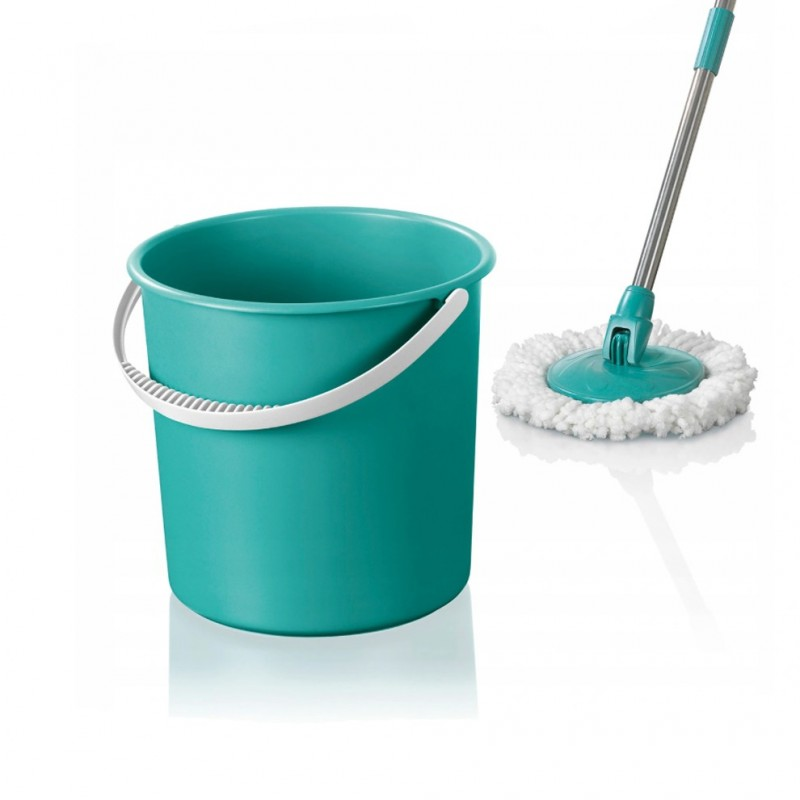 Mop rotativ din microfibra, galeata cu ax, coada otel, maner galeata, CLEANMAXX