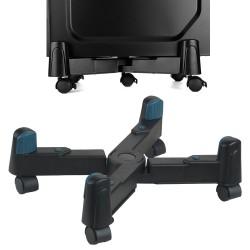 Suport mobil pentru cooler sau unitate, ajustabil pana la 25cm, 4 roti, accesorii asamblare, negru