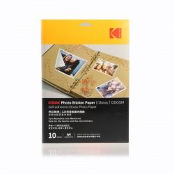 Hartie foto autoadeziva, format A4, Glossy, pentru imprimante Inkjet, 120gsm, 10 coli, Kodak